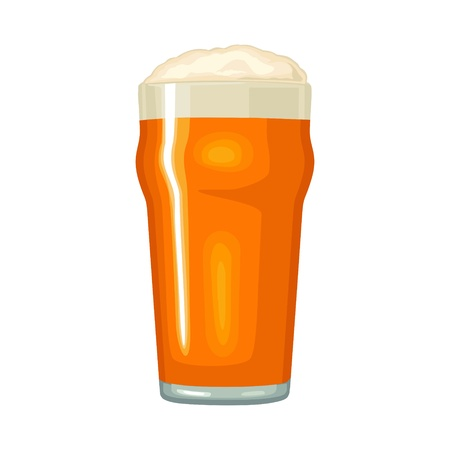 Glass with beer. Vector color flat icon. Isolated on white background. Ilustração