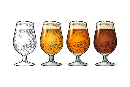 Glass with different types beer - lager, ale. Vintage color vector engraving illustration. Isolated on white background.