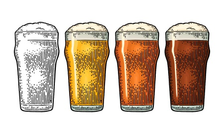 Glass with three types beer - light, red and porter. Vintage black and color vector engraving illustration. Isolated on white background. Ilustração