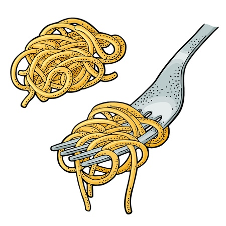 Spaghetti on fork. Vector vintage engraving color illustration isolated on white background. Hand drawn design element