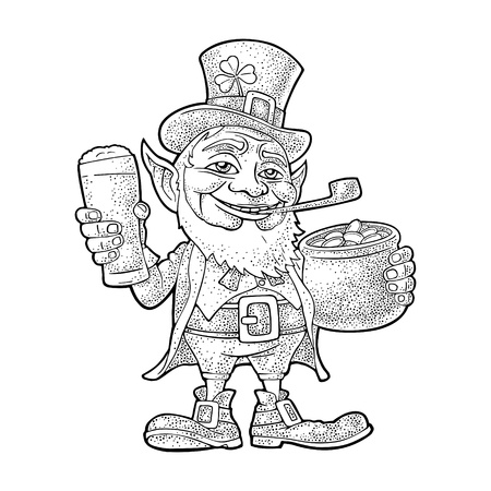 Leprechaun holding beer glass and pot of gold coins. Vector black vintage engraving illustration. Isolated on white background. For Saint Patrick's Day poster.