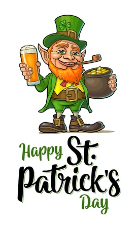 Leprechaun holding beer glass and pot of gold coins. Happy Saint Patricks Day calligraphy handwriting lettering. Vector color illustration. Isolated on white background Illustration