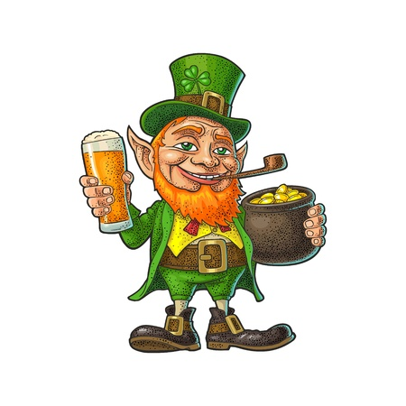 Leprechaun holding beer glass and pot of gold coins. Vector color vintage engraving illustration. Isolated on white background. For Saint Patricks Day poster. Illustration