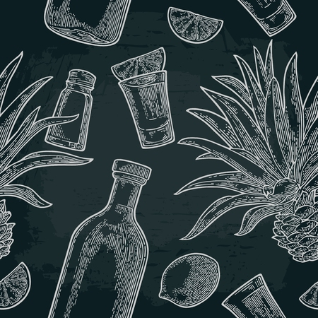 Seamless pattern of bottle, glass tequila, salt, cactus and slice lime on black background. Vintage white vector engraving illustration for label, poster, web, invitation to party.