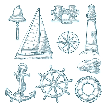 Anchor, wheel, sailing ship, compass rose, lighthouse engraving