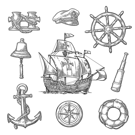 Set sea adventure. Anchor, wheel, caravel, compass rose, bollard, spyglass, bell, lifebuoy, lighthouse isolated on white background. Vector black vintage engraving illustration. For poster yacht club.