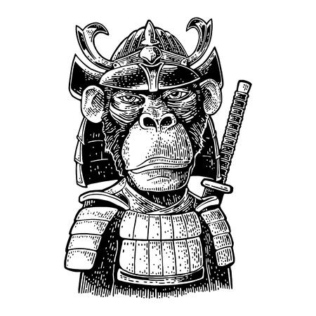 Scimmia vestita con l'elmo e l'armatura del Giappone con la spada del samurai dietro. Illustrazione di incisione nera vintage. Isolato su sfondo bianco. Elemento di design disegnato a mano per poster, t-shirt
