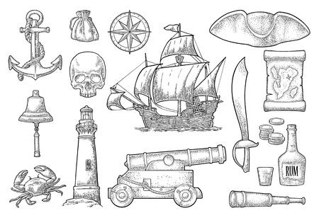 Ustaw przygodę piratów. Kotwica, butelka rumu, armata, tricorn, koło, worek pieniędzy, monety, czaszka, szabla, karawela, kompas, luneta, latarnia morska na białym tle. Grawerowanie vintage wektor czarny