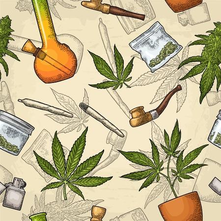 Seamless pattern with marijuana. Cigarettes, pipe, lighter, buds, leaves, bottle, glass jar, plastic bag, pipe for smoking cannabis. Vintage color vector engraving illustration isolated on beige Vektorgrafik