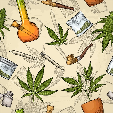 Seamless pattern with marijuana. Cigarettes, pipe, lighter, buds, leaves, bottle, glass jar, plastic bag, pipe for smoking cannabis. Vintage color vector engraving illustration isolated on beige