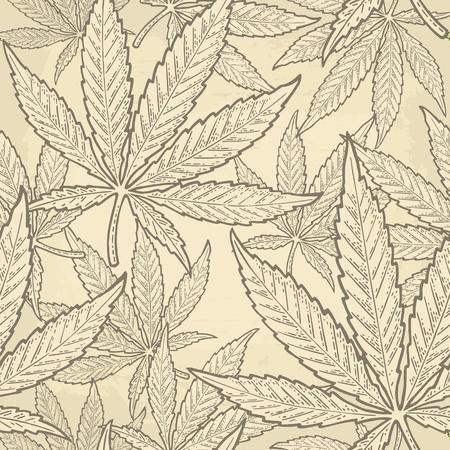Nahtloses Muster mit Marihuanablatt. Handgezeichnetes Gestaltungselement Cannabis. Grüne Vektorstichillustration der Weinlese für Aufkleber, Plakat, Netz. Auf beigem Hintergrund isoliert