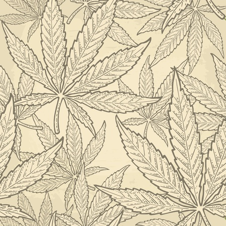 Seamless pattern with marijuana leaf. Hand drawn design element cannabis. Vintage green vector engraving illustration for label, poster, web. Isolated on beige background