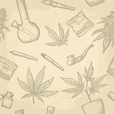 Seamless pattern with marijuana. Cigarettes, pipe, lighter, buds, leaves, bottle, glass jar, plastic bag, pipe for smoking cannabis. Vintage vector engraving illustration isolated on beige