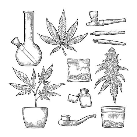 Zigaretten, Pfeife, Feuerzeug, Cannabisknospen. Vintage-Gravur