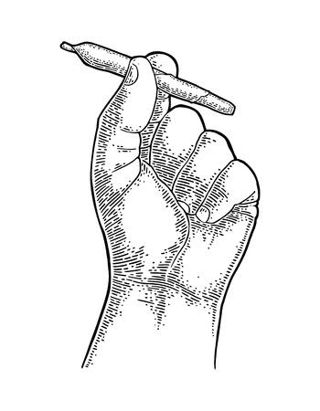 Männliche Hand, die Zigaretten mit Marihuana hält Gravur Jahrgang