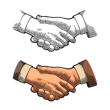Handshake. Vector color vintage engraving illustration isolated on a white background. For web, poster, info graphic.
