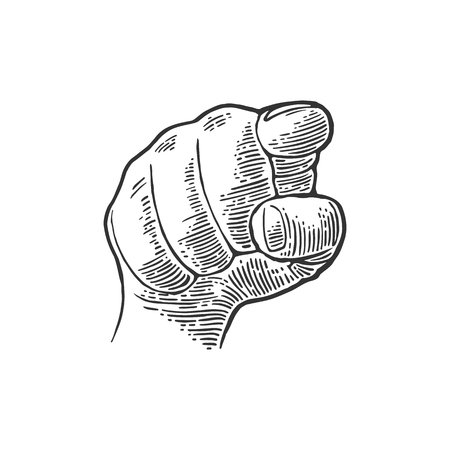 Female hand showing a fig sign. Vector black vintage engraved illustration isolated on a white background. Hand sign for web, poster, info graphic