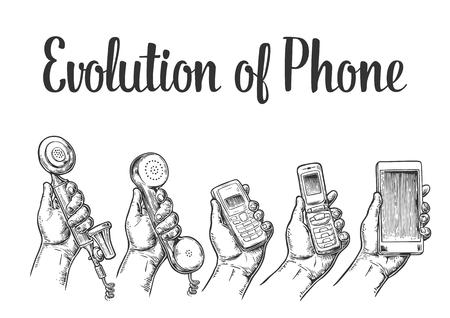 Évolution des appareils de communication du téléphone classique au téléphone mobile moderne. Élément de design dessiné à la main. Illustration de gravure vectorielle vintage pour infographie, affiche, web.
