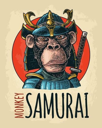 Monkey dressed in the japan helmet and armor with sword behind. Samurai handwriting lettering. Vintage color engraving. Isolated on bejge background. Hand drawn design element for poster, t-shirt Illusztráció