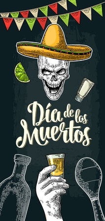 Vertical poster for Dia de los Muertos. Vector vintage engraving Illustration
