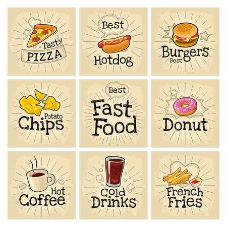 Set fast food and bubble. Vector color flat icon on dark