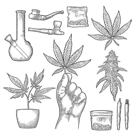 Set Marijuana. Cigarettes, pipe, lighter, buds, hand hold leaf, bottle, cigarette, glass jar, plastic bag, pipe for smoking cannabis. Vintage black vector engraving illustration Isolated on white
