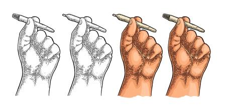 Männliche Hand, die brennende Zigaretten mit Marihuana hält Gravur Vintage-Vektor-Schwarz- und Farbabbildung. Isoliert auf weißem Hintergrund. Handgezeichnetes Gestaltungselement für Etikett und Poster.
