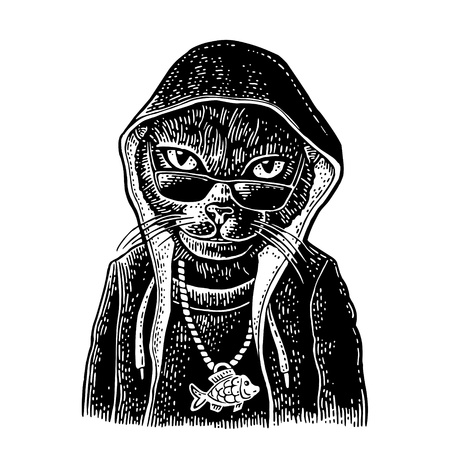 Cat rapper dressed in the hoodie, necklace with fish. Vintage black engraving illustration. Isolated on white background. Hand drawn design element for poster, t-shirt Stock Illustratie