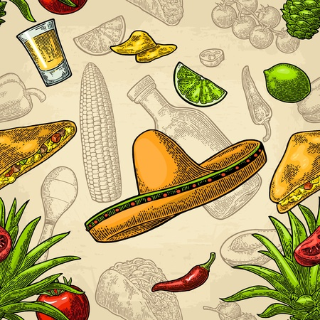 Seamless pattern mexican food. Glass tequila, bottle, sombrero, tacos, vegetables.