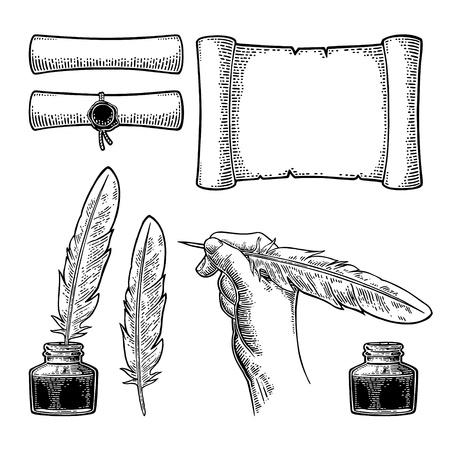 Tintenfass, Schriftrolle mit Siegel und Hand mit Gänsefeder. Vector schwarze Weinlesestichillustration für Plakat, Aufkleber, Fahne, Netz. Isoliert auf weißem Hintergrund