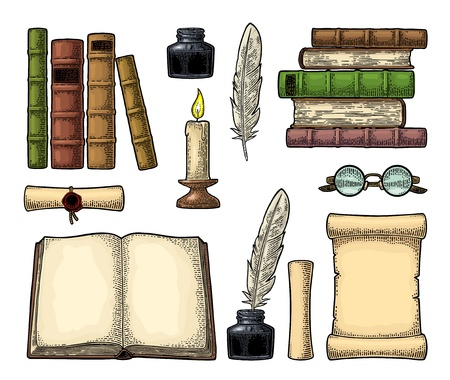 Set education. Inkwell with feather, pile of old books, scroll, glasses, candle. Isolated on white background. Vector color vintage engraving illustration. Hand draw in a graphic style. Ilustracja