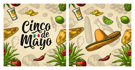 Seamless pattern mexican food and Cinco de Mayo handwriting lettering. Glass tequila, sombrero, tacos, nachos and vegetables. Vector color vintage engraving for menu. Isolated on beige background