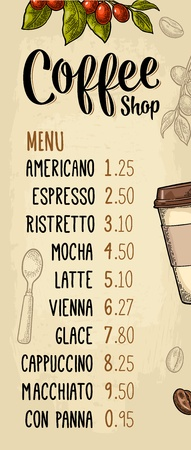Restaurant or cafe menu coffee drink with price. Hand holding a cup, beans, stick cinnamon, branch with leaf and berry. Vintage color vector engraving illustration on beige background