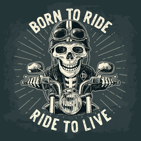 Skeleton driving a motorcycle rides. Skull dressed in the helmet and glasses. Vector hand drawn vintage engraving. For poster and t-shirt biker club
