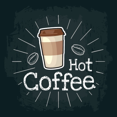 Takeout coffee with cap and cup holder. Vector color flat illustration for poster, label and menu cafe fast food. Isolated on the black chalkboard with vintage white chalk engraving rays, lettering, beans