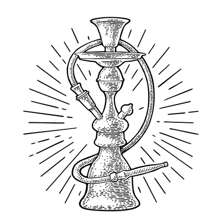 Hookah with rays. Vector vintage engraving black illustration isolated on white background.