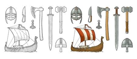 Set viking. Knife, drakkar, axe, helmet, sword, hammer, thor amulet with runes. Vintage vector black engraving illustration isolated on white background. Hand drawn design element for poster, label, tattoo Ilustracja