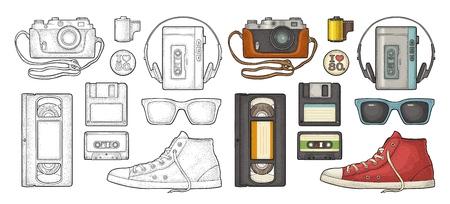Set retro technology object. Floppy disk, photo film in cartridge, video, audio cassette, sneaker, tape recorder. Vintage vector color engraving illustration isolated on white background. Illustration