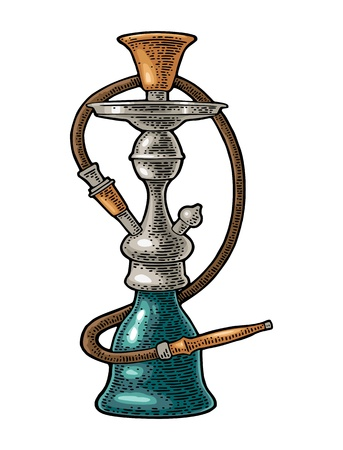 Hookah. Vector vintage engraving color illustration isolated on white background.