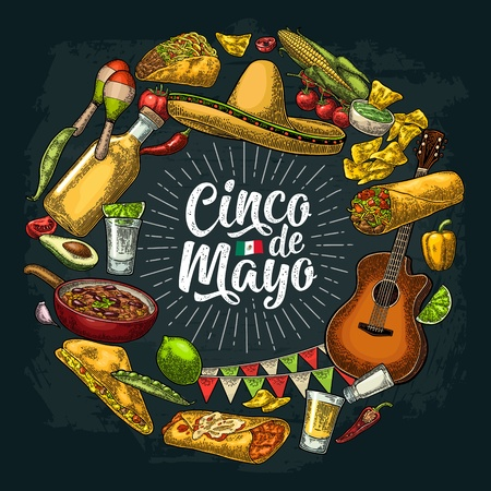 Circle shape set with mexican traditional food with Guacamole, Quesadilla, Enchilada, Burrito, Tacos, Nachos. Cinco de Mayo handwriting lettering. Vector vintage engraving illustration on dark