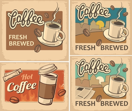 Coffee cup. Vintage Vector illustration on old paper texture background. Retro poster template.