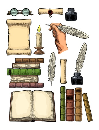Set education. Inkwell, pile of old books, scroll with seal, hand holding goose feather, glasses, candle. Isolated on white background. Vector color vintage engraving illustration