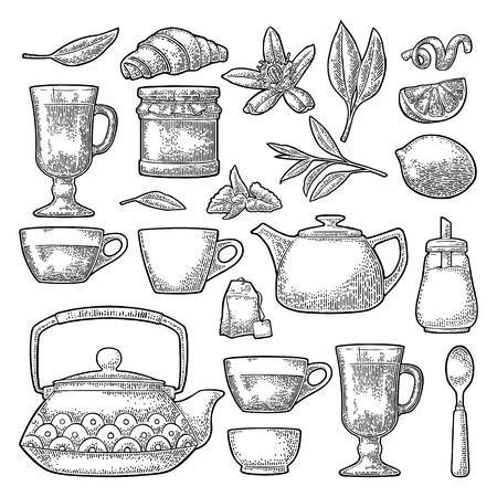 Set tea. Cup, branch, leaf, kettle, flower, lemon, croissant, bag, sugar shaker. Vector black vintage engraving illustration for label. Isolated on white background