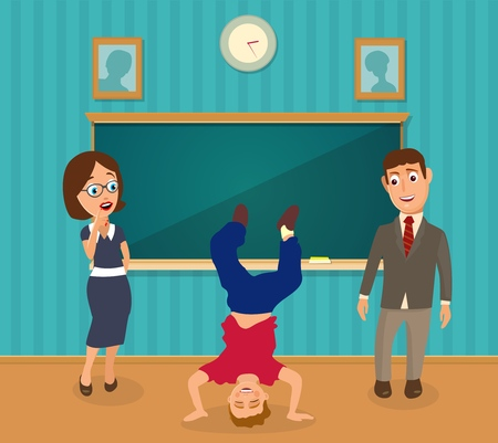 Teachers look on boy upside down on his hands. Interior of classroom. Vector flat color illustration