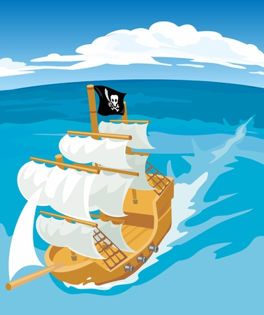 Old sailing ship with pirate flag. Vector flat illustration