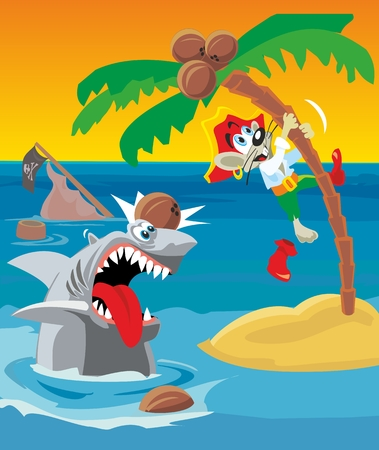 Comics mouse pirate escapes from shark. Vector flat illustration.