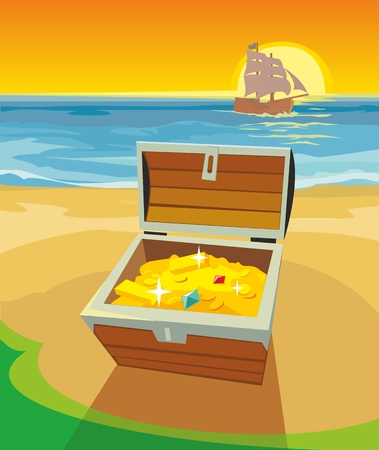 Treasure Chest on a desert island. Vector flat color illustration.