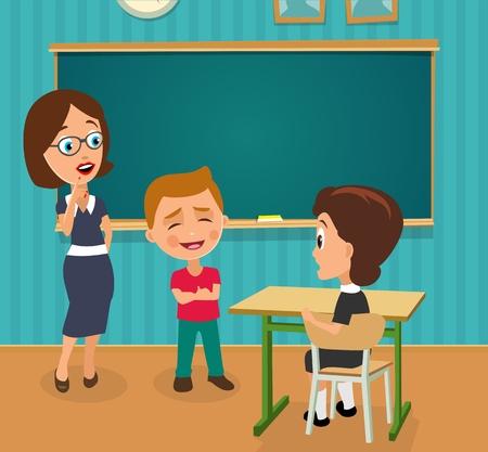 Insegnante sorpreso con la bocca aperta e studentessa seduta a una scrivania girata a metà. Ragazzo in piedi orgoglioso e felice. Illustrazione piana di vettore di colore. Interno dell'aula con scrivania e lavagna.