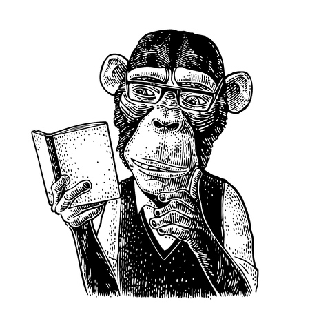 Monkey hipster is reading a book. Vintage black engraving