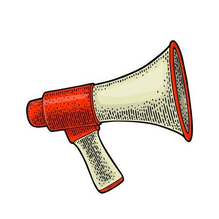 Loudspeaker. Vintage vector color engraving illustration for poster, web. Isolated on white background. Illustration